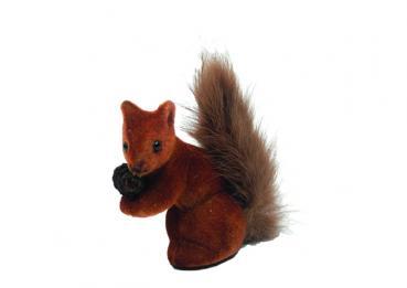 Eichhörnchen klein, beflockt, braun , 8 cm, Made in Germany