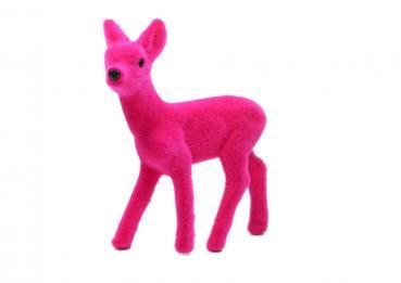 Super Vintage-style Bambi, pink beflockt, Höhe 8 cm