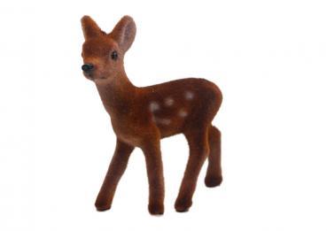 Braunes klassisches Bambi, beflockt, mit weissen Punkten, Höhe ca 8 cm