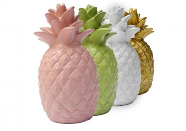 Decorative Ananas in Pastellrosa 19 cm hoch