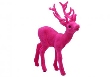 Deko retro Hirsch in Pink, Flock, 16 cm