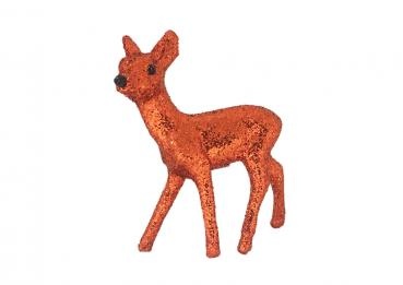 Glitzerbambi in Kupfer-Orange, 8 cm