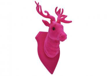 Hirschkopf Pink Flock Hirsch Decoration Deko