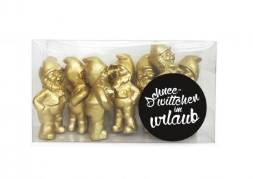 Snowwhite on vacation-Gold, 7 Gnomes Set