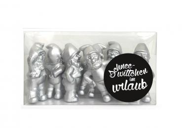 Snowwhite on vacation-Silver, 7 Gnomes Set